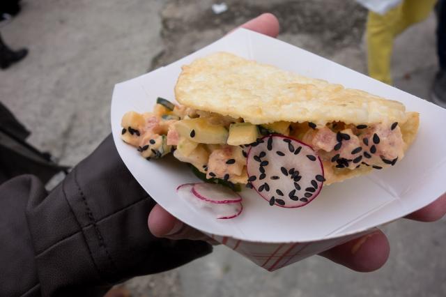 spicy tuna taco Smorgasburg - a caffeinated brunette