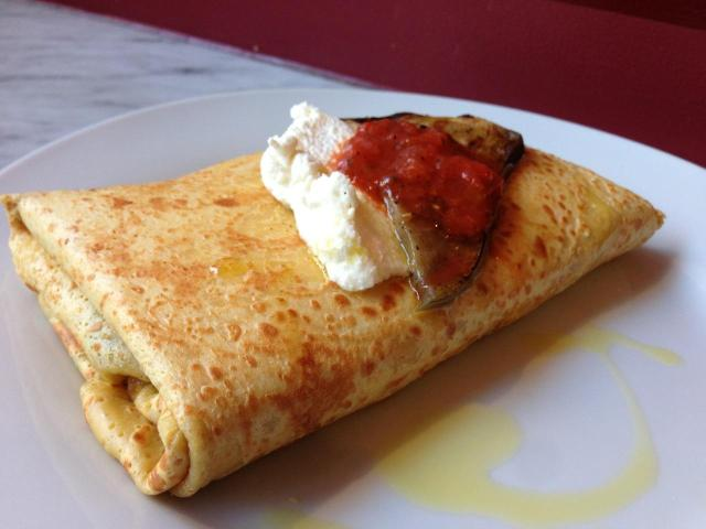 Eggplant crepe, crespella Brooklyn, NY -A caffeinated brunette